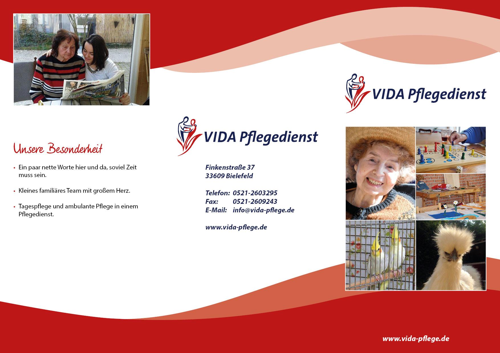 Flyer VIDA Pflegedienst Außenseite