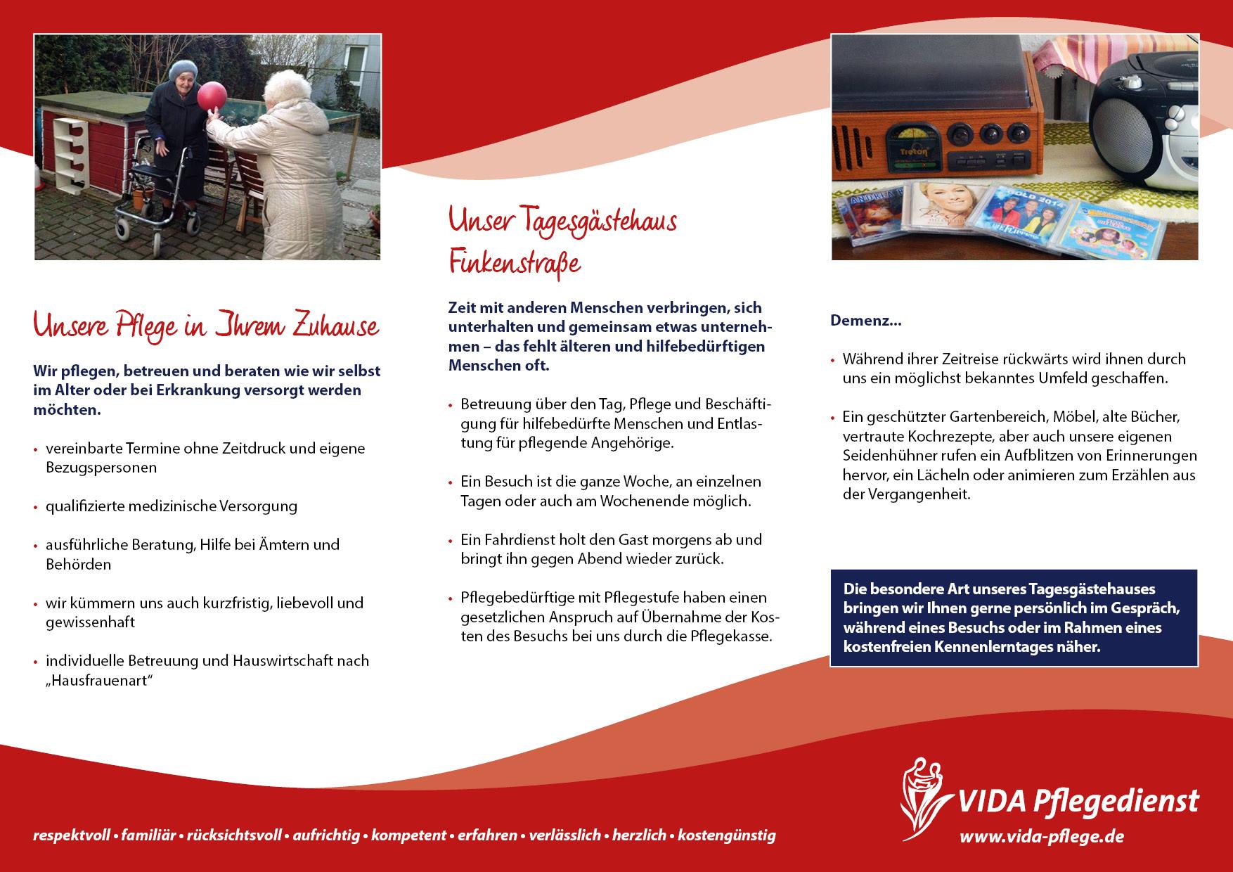 Flyer VIDA Pflegedienst Innenseite