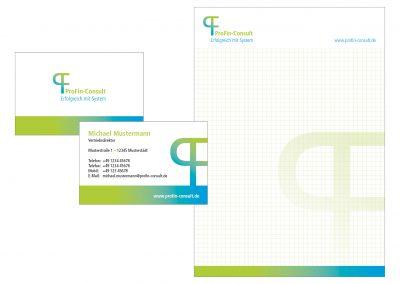 Logo, Visitenkarten und Block Profin Consult