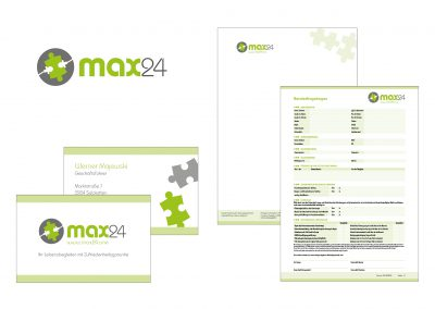 Logo, Visitenkarten, Briefpapier und Formulare max24