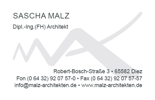 Visitenkarte Sascha Malz - Rückseite