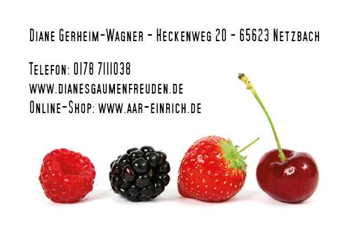 Visitenkarte Gaumenfreuden - Rückseite