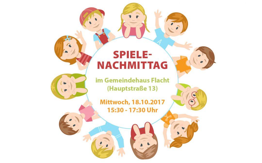 Plakat Spielenachmittag Evangelische Gemeindebücherei Flacht