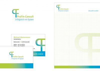 Logo, Visitenkarten und Block für ProFin Consult