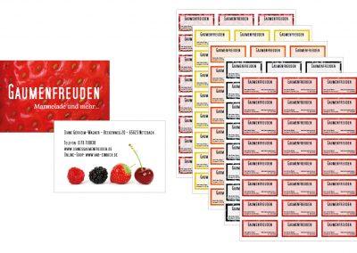 Visitenkarten und Etiketten für Gaumenfreuden