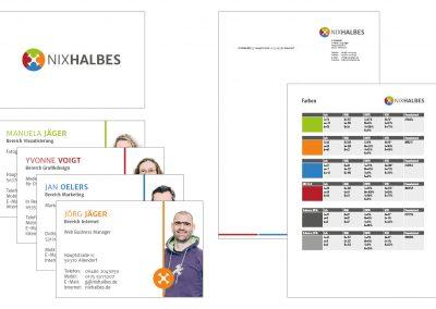 Logo, Visitenkarten und Corporate Design für NixHalbes